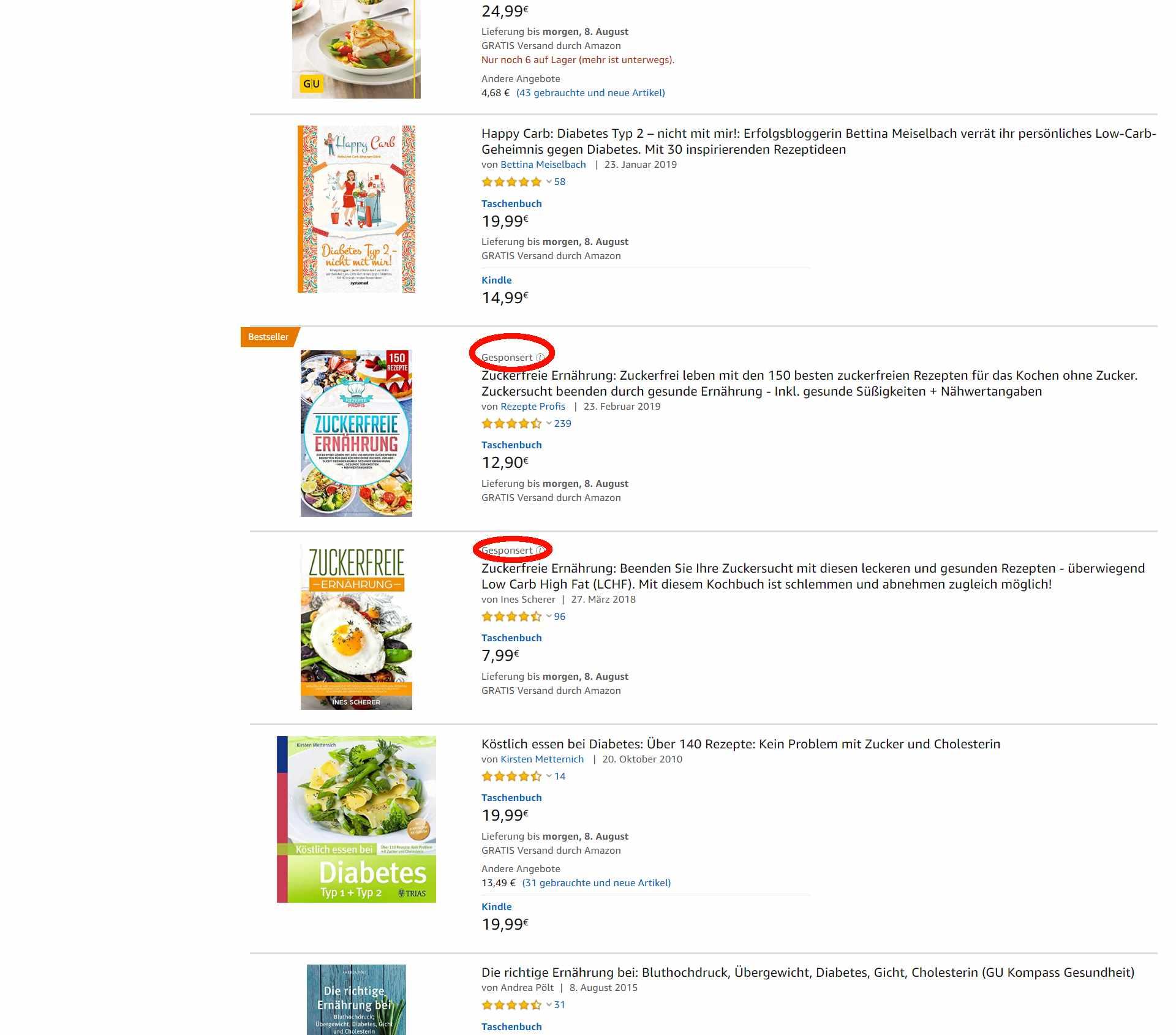 Amazon PPC Werbung_Gesponserte Produkte_Anzeige mittig in Suchergebnissen
