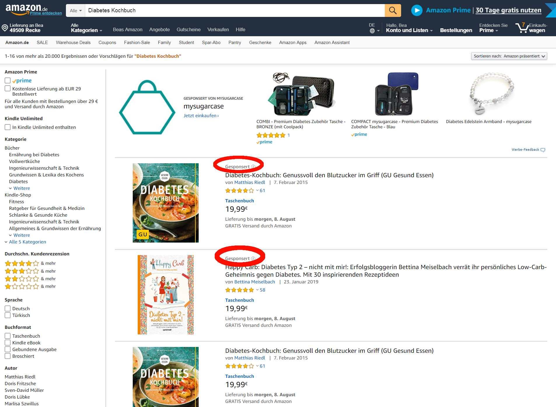 Amazon PPC Werbung_Gesponserte Produkte_Anzeige oben in Suchergebnissen
