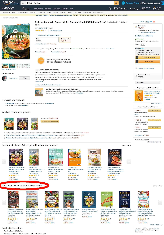Buch-Listing Detailseite auf Amazon PPC Anzeigendarstellung unter Gesponserte Produkte zu diesem Artikel