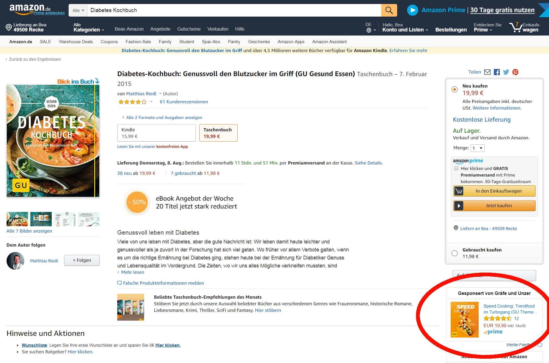 Buch-Listing Detailseite auf Amazon PPC Anzeigendarstellung unterhalb in den Einkaufswagen