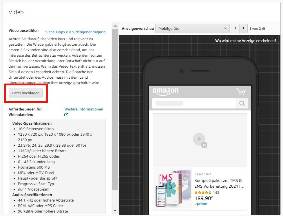 Buchwerbung auf Amazon_Werbeanzeige Video_Video hochladen
