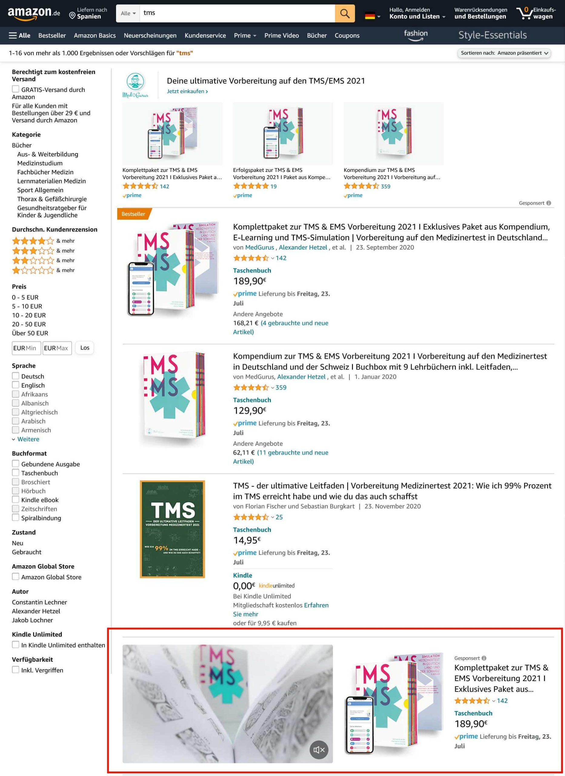 Buchwerbung mit Amazon Sponsored Brands Video Ads_Suchergebnisse für tms